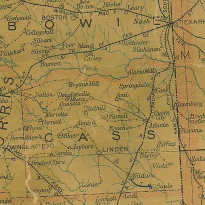 Cass County Texas 1907 Postal map