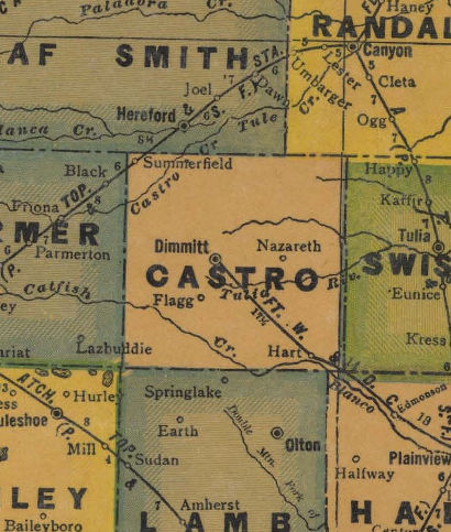 Castro County Texas 1940s map