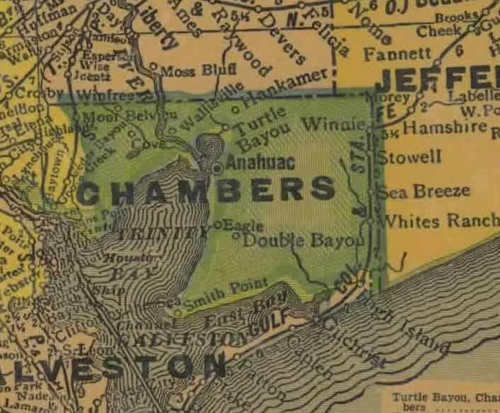 TX  Chambers County 1940s Map