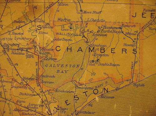 TX Chambers County  1907 Postal Map