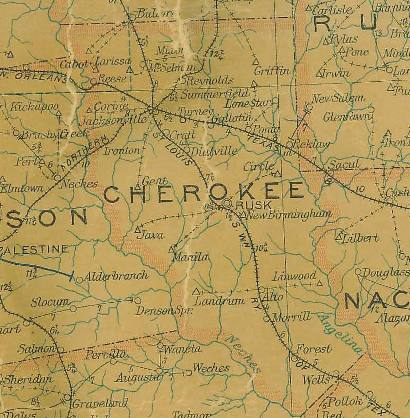 Cherokee County Texas 1907 Postal Map