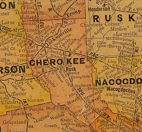 1920s Cherokee County, Texas Map