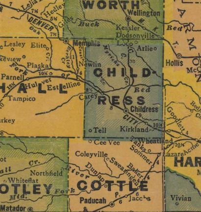 Childress County Texas 1940s map