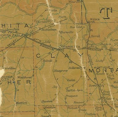 Clay County Texas 1907 Postal map