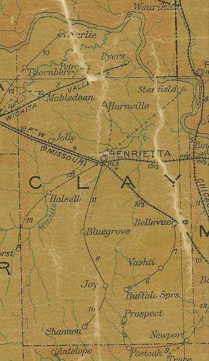 TX Clay County Texas 1907 Postal Map