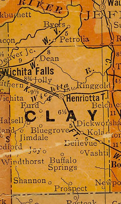 TX - Clay County Texas 1920s Map