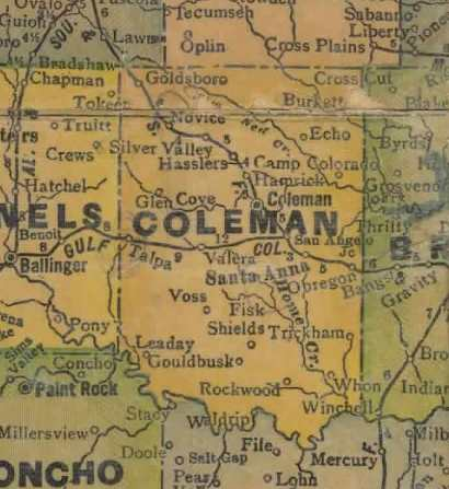 Texas - Coleman County 1940s vintage map