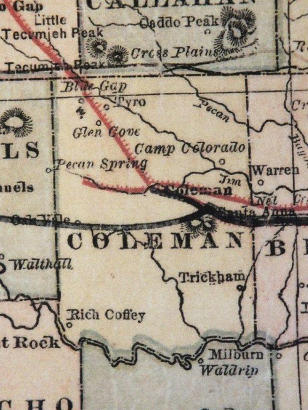 Coleman County TX 1882 Map