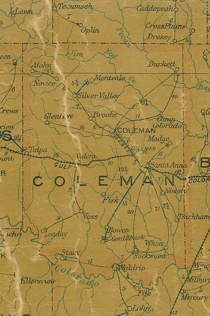 TX Coleman County 1907 Postal Map