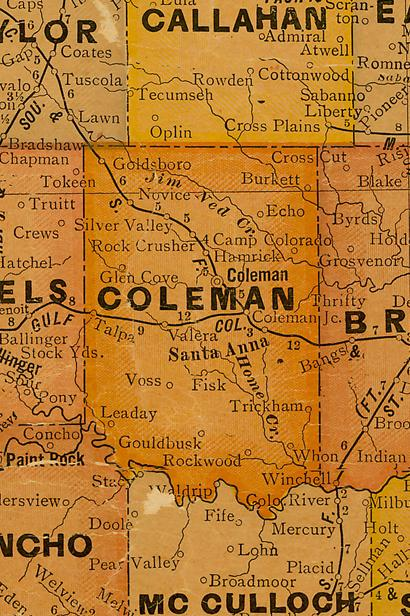 Coleman County TX 1920s Map