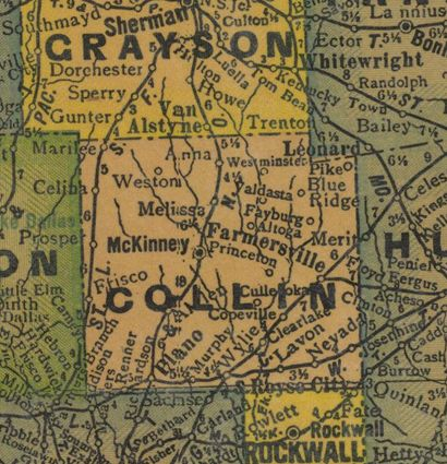 Collin County TX 1940s map