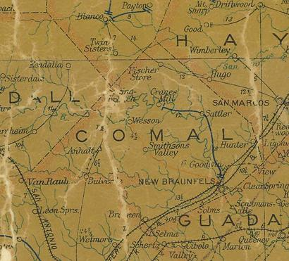 TX Comal  County 1907 Postal Map
