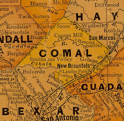 TX Comal County 1920s Map