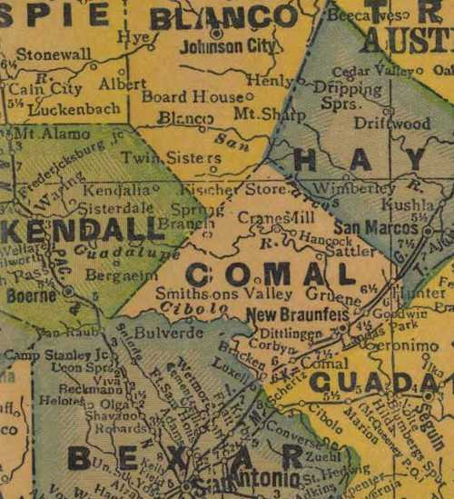 TX Comal County 1940s Map
