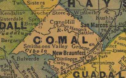 Comal County Texas 1940s map