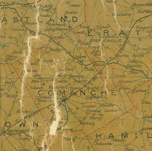 TX Comanche County 1907 Postal Map