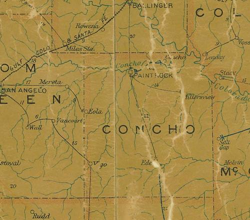 TX Concho County 1907 Postal Map