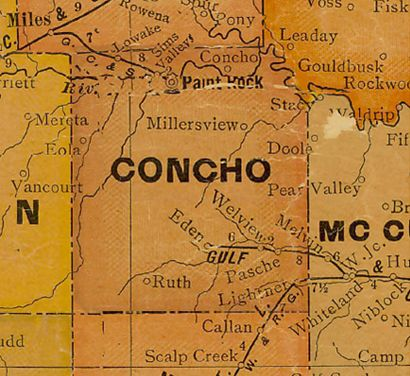 TX Concho County 1920s Map