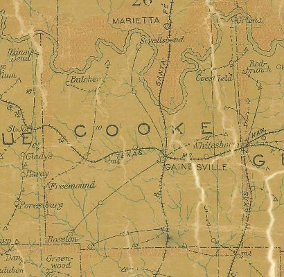 TX Cooke County 1907 Postal Map