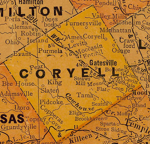 TX Coryell County 1920s Map