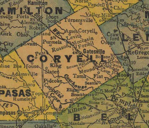 TX Coryell County 1940s Map