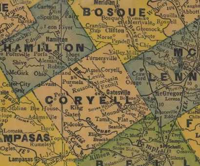 1940s  Texas Coryell County Map