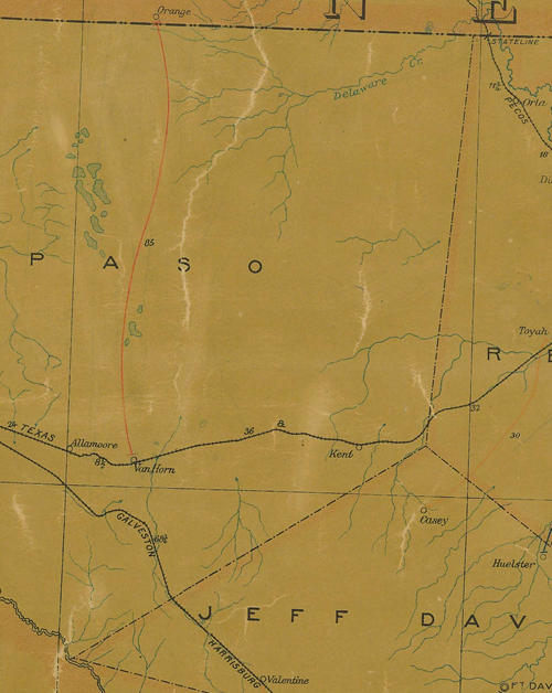 Culberson County TX 1907 postal map