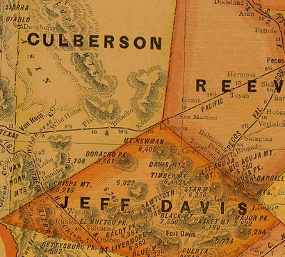 Culberson County Texas 1920s map showing Lobo, mountains and rail line