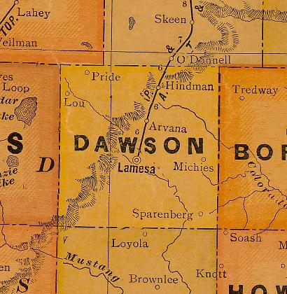 Dawson County Texas 1920s map