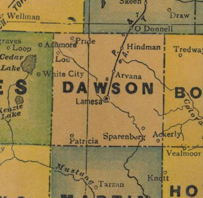 Dawson County Texas 1940s map