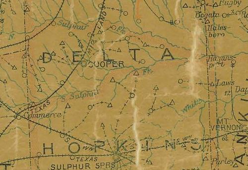 TX Delta County 1907 Postal Map