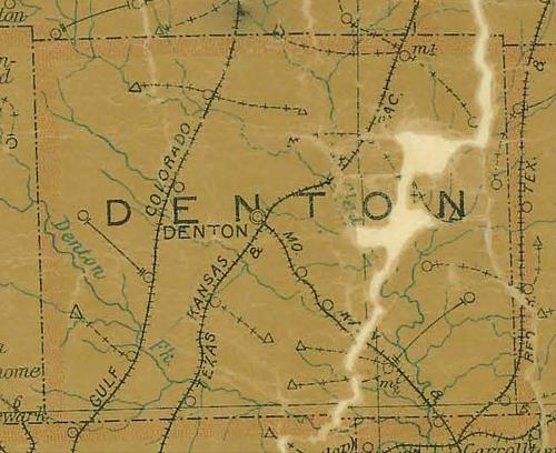TX Denton County 1907 Postal Map