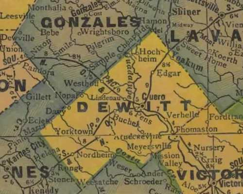 TX DeWitt County 1940s map