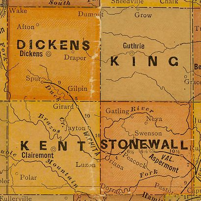 1920s Kent County Texas Map