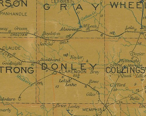 Donley County TX 1907 Postal Map