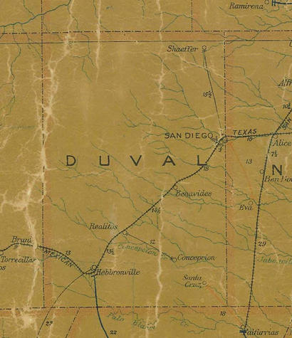 Duval  County TX 1907 postal map