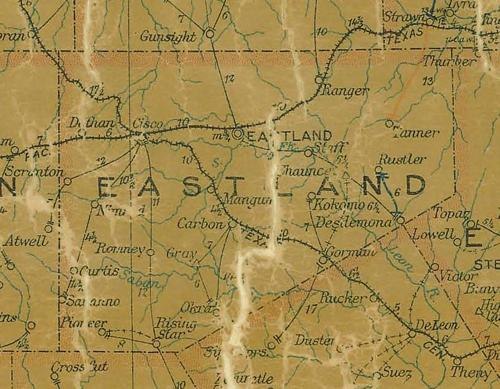 TX Eastland County 1907 Postal Map
