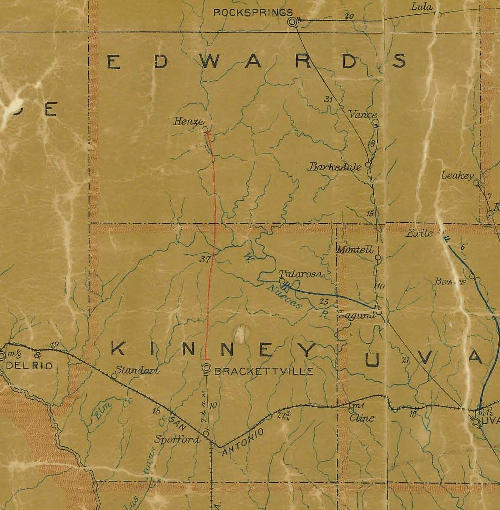 TX - Edwards and Kinney County 1907 Postal Map