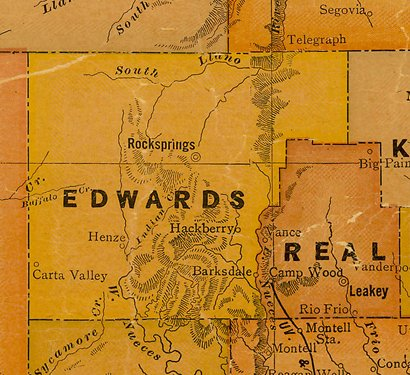 Edwards County TX 1920s Map