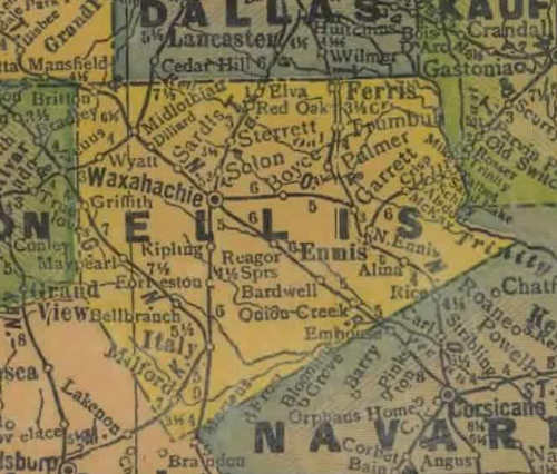 TX Ellis  County 1940s Map