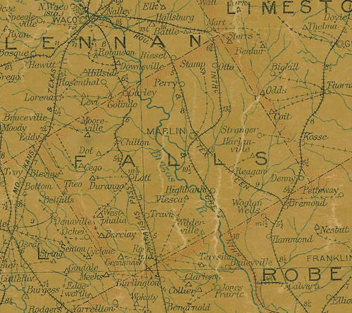 Falls county TX 1907 postal map