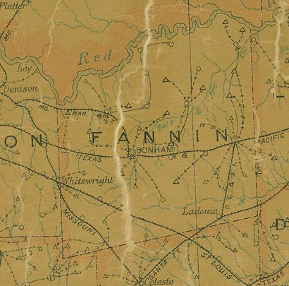 TX Fannin County  1907 Postal Map