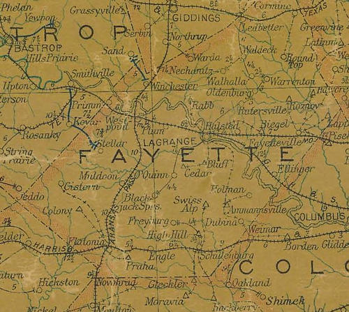fayette county texas 1907 postal map