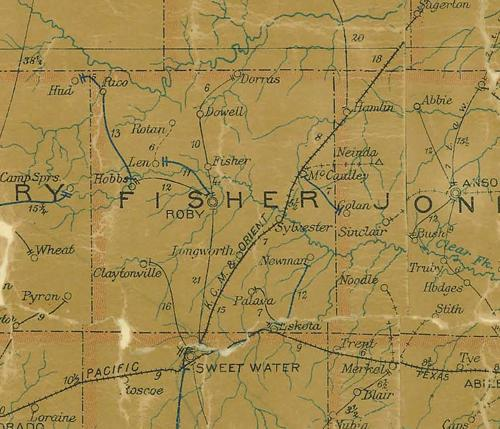 Fisher County TX 1907 Postal Map