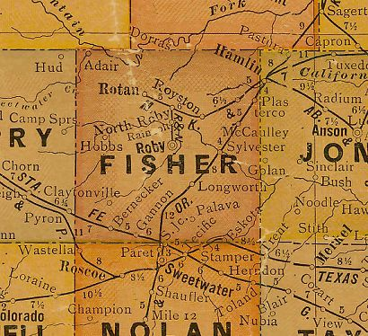 Fisher County Texas 1920s map