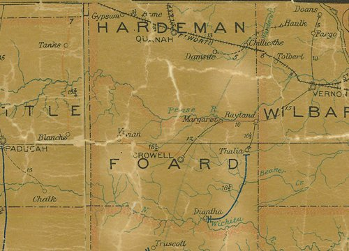 TX 1907 Foard County and Hardeman County  postal map