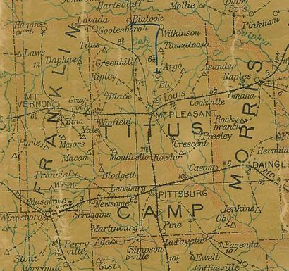 1907 Texas Map of Franklin, Titus, Camp and Morris Counties