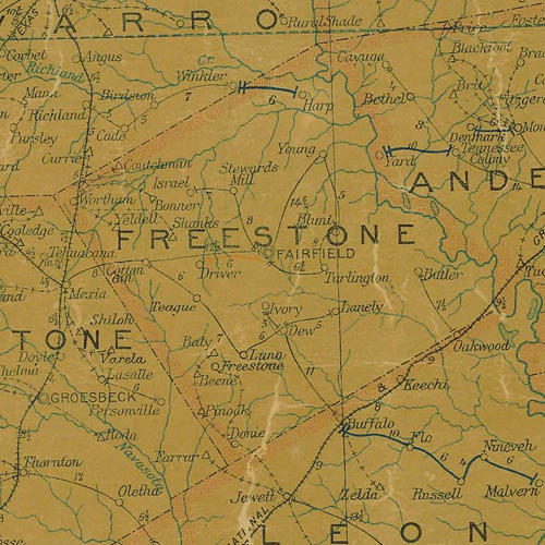 Freestone County TX 1907 psotal map