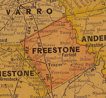 Freestone County TX 1920s map