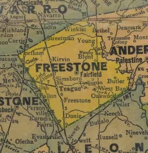 Freestone County 1920s map